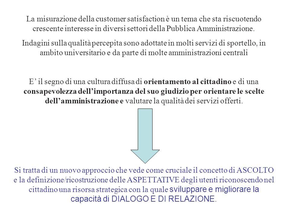 La misurazione della customer satisfaction è un tema che sta riscuotendo crescente interesse in diversi settori della Pubblica Amministrazione. Indagi