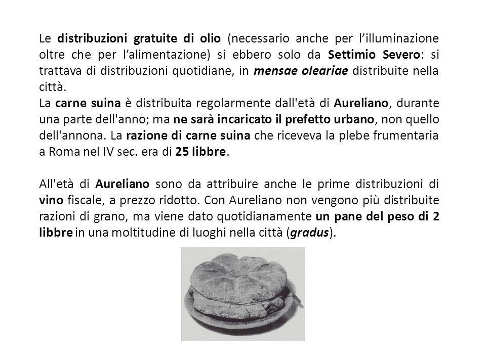 Le distribuzioni gratuite di olio (necessario anche per lilluminazione oltre che per lalimentazione) si ebbero solo da Settimio Severo: si trattava di distribuzioni quotidiane, in mensae oleariae distribuite nella città.