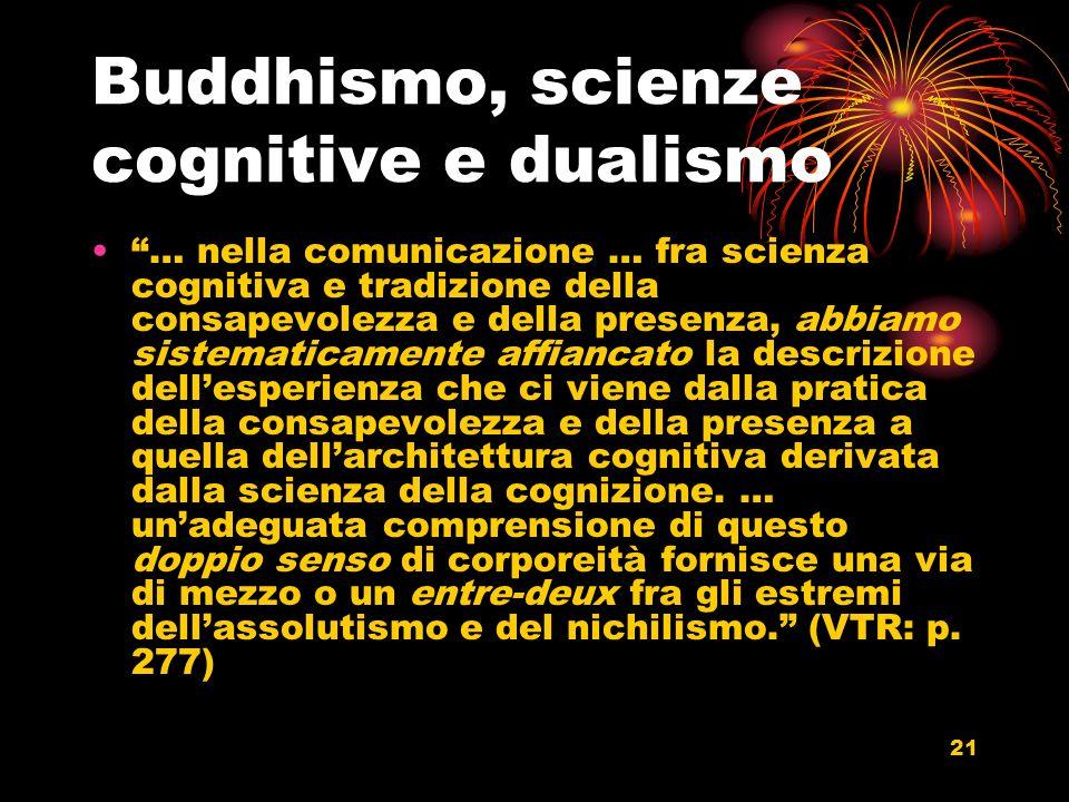 21 Buddhismo, scienze cognitive e dualismo … nella comunicazione … fra scienza cognitiva e tradizione della consapevolezza e della presenza, abbiamo s