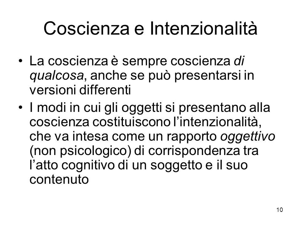10 Coscienza e Intenzionalità La coscienza è sempre coscienza di qualcosa, anche se può presentarsi in versioni differenti I modi in cui gli oggetti s