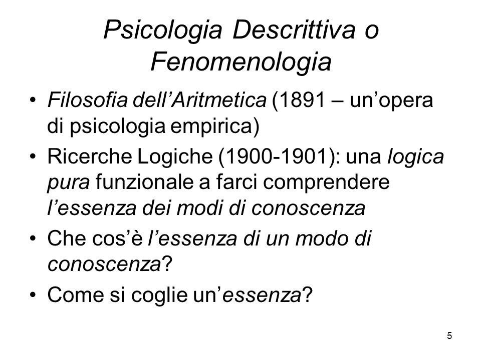 5 Psicologia Descrittiva o Fenomenologia Filosofia dellAritmetica (1891 – unopera di psicologia empirica) Ricerche Logiche (1900-1901): una logica pur