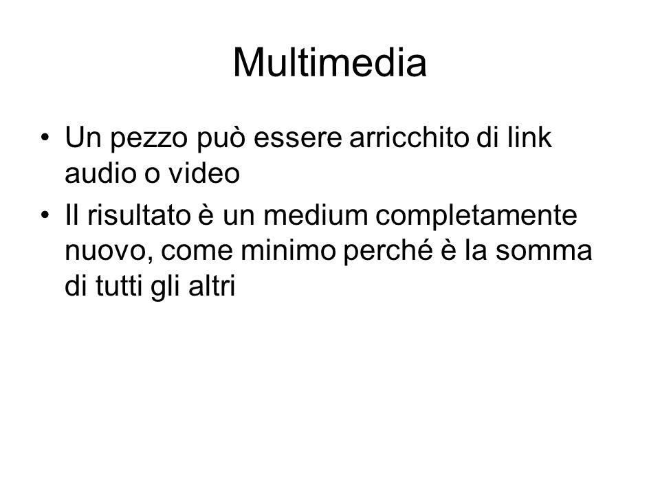 Multimedia Un pezzo può essere arricchito di link audio o video Il risultato è un medium completamente nuovo, come minimo perché è la somma di tutti gli altri