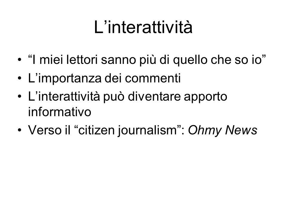 Linterattività I miei lettori sanno più di quello che so io Limportanza dei commenti Linterattività può diventare apporto informativo Verso il citizen journalism: Ohmy News