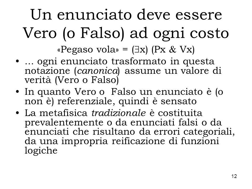 12 Un enunciato deve essere Vero (o Falso) ad ogni costo «Pegaso vola» = ( x) (Px Vx)... ogni enunciato trasformato in questa notazione ( canonica ) a
