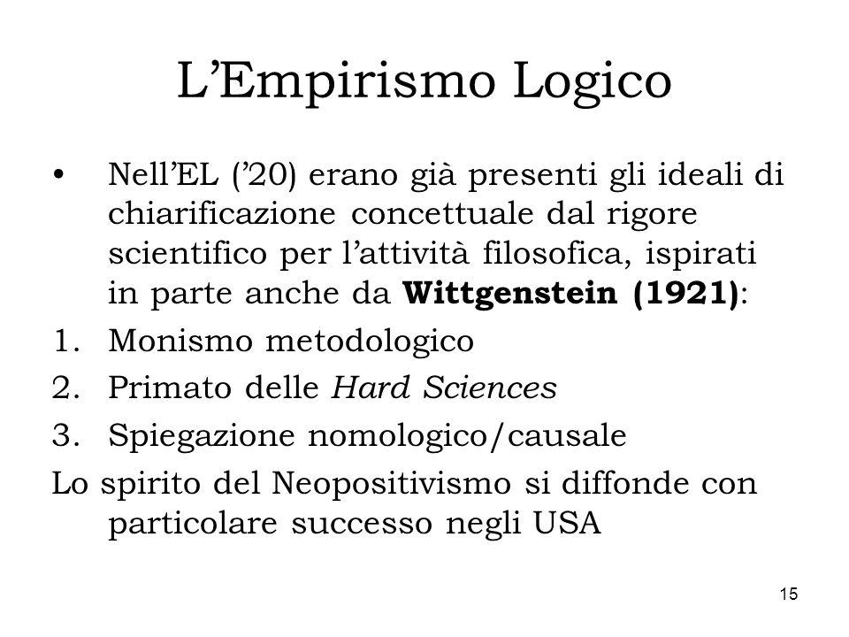15 LEmpirismo Logico NellEL (20) erano già presenti gli ideali di chiarificazione concettuale dal rigore scientifico per lattività filosofica, ispirat