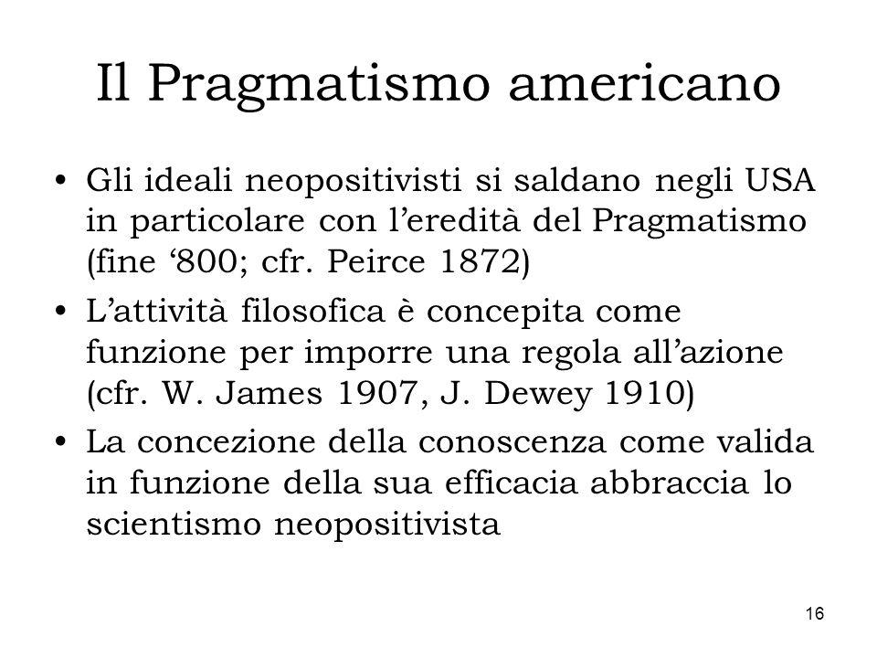 16 Il Pragmatismo americano Gli ideali neopositivisti si saldano negli USA in particolare con leredità del Pragmatismo (fine 800; cfr. Peirce 1872) La