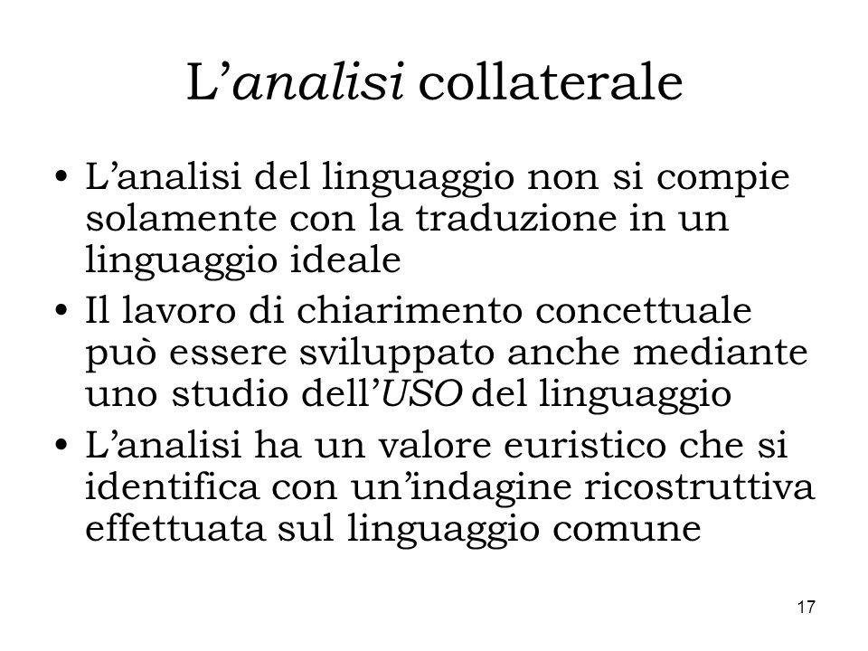 17 L analisi collaterale Lanalisi del linguaggio non si compie solamente con la traduzione in un linguaggio ideale Il lavoro di chiarimento concettual