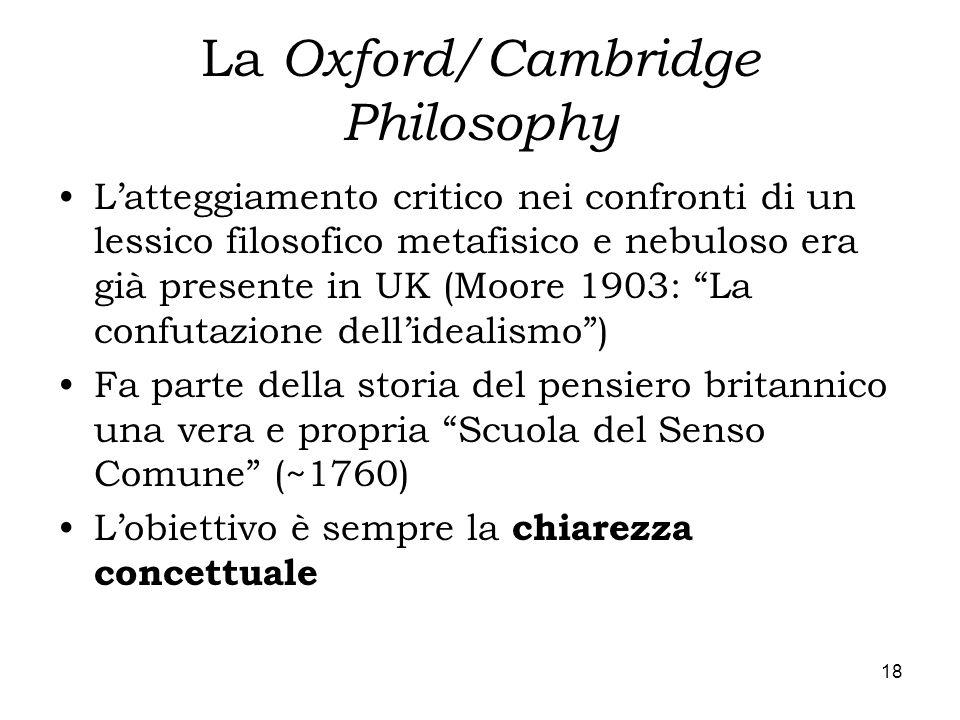 18 La Oxford/Cambridge Philosophy Latteggiamento critico nei confronti di un lessico filosofico metafisico e nebuloso era già presente in UK (Moore 19