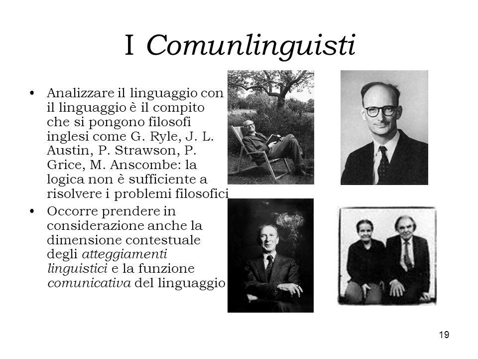 19 I Comunlinguisti Analizzare il linguaggio con il linguaggio è il compito che si pongono filosofi inglesi come G. Ryle, J. L. Austin, P. Strawson, P