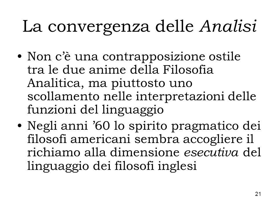 21 La convergenza delle Analisi Non cè una contrapposizione ostile tra le due anime della Filosofia Analitica, ma piuttosto uno scollamento nelle inte