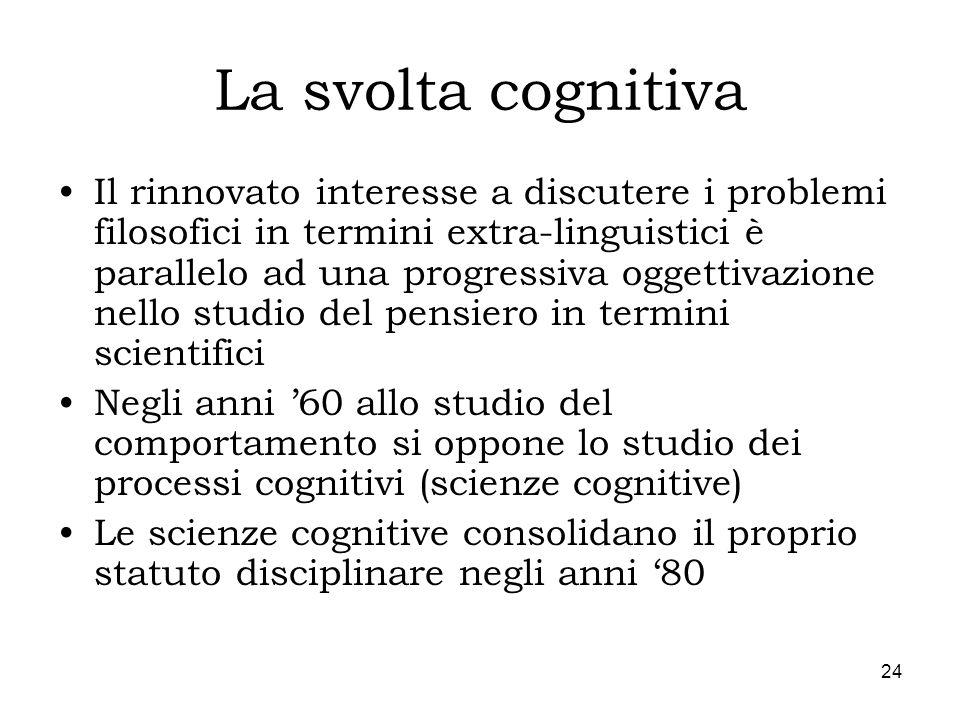 24 La svolta cognitiva Il rinnovato interesse a discutere i problemi filosofici in termini extra-linguistici è parallelo ad una progressiva oggettivaz