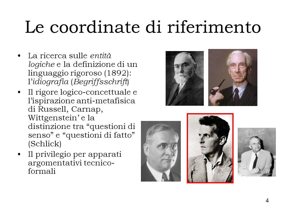 4 Le coordinate di riferimento La ricerca sulle entità logiche e la definizione di un linguaggio rigoroso (1892): l idiografia ( Begriffsschrift ) Il