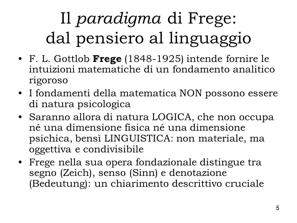 5 Il paradigma di Frege: dal pensiero al linguaggio F. L. Gottlob Frege (1848-1925) intende fornire le intuizioni matematiche di un fondamento analiti