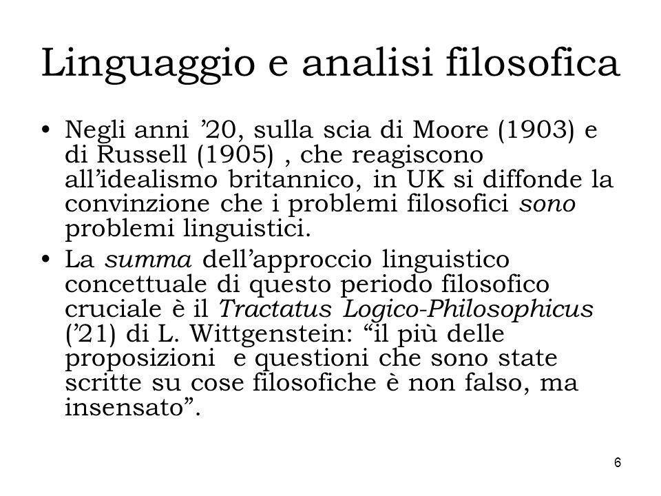 6 Linguaggio e analisi filosofica Negli anni 20, sulla scia di Moore (1903) e di Russell (1905), che reagiscono allidealismo britannico, in UK si diff