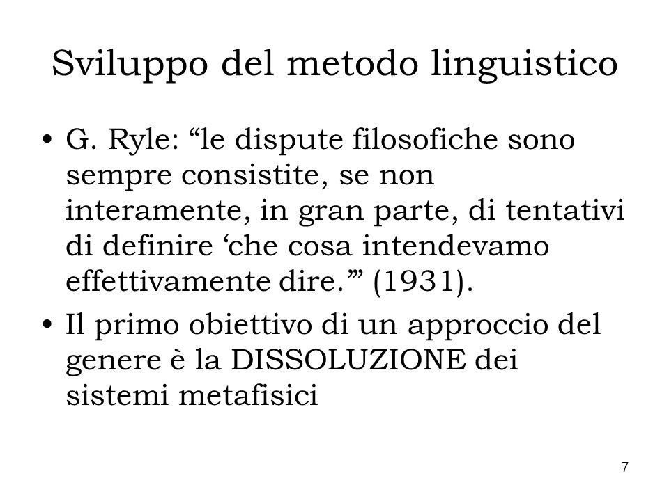 7 Sviluppo del metodo linguistico G. Ryle: le dispute filosofiche sono sempre consistite, se non interamente, in gran parte, di tentativi di definire
