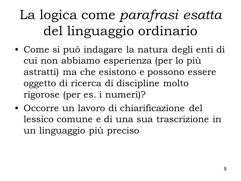 9 La logica come parafrasi esatta del linguaggio ordinario Come si può indagare la natura degli enti di cui non abbiamo esperienza (per lo più astratt