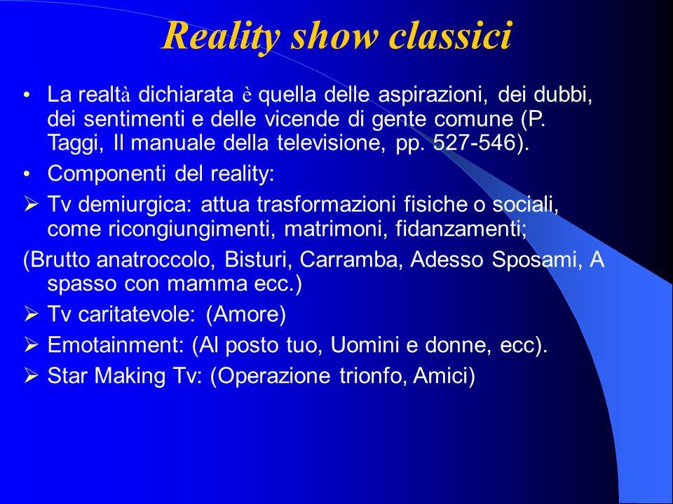 Reality show classici La realt à dichiarata è quella delle aspirazioni, dei dubbi, dei sentimenti e delle vicende di gente comune (P.