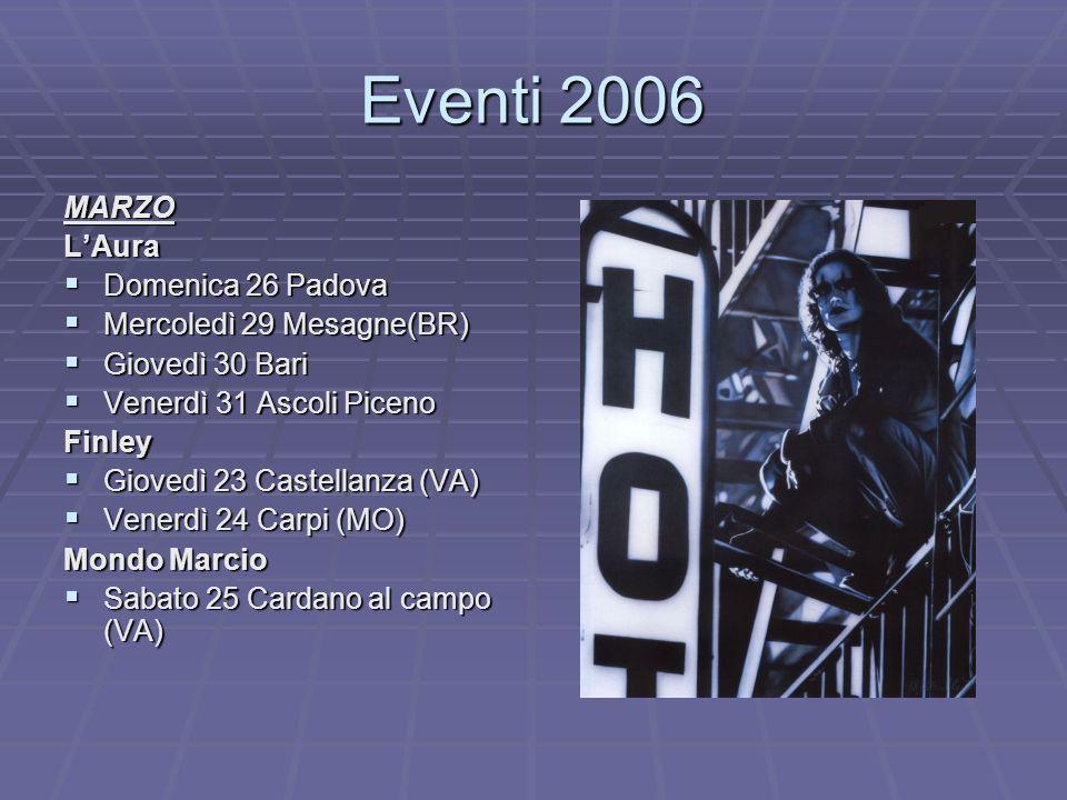 Eventi 2006 MARZOLAura Domenica 26 Padova Domenica 26 Padova Mercoledì 29 Mesagne(BR) Mercoledì 29 Mesagne(BR) Giovedì 30 Bari Giovedì 30 Bari Venerdì