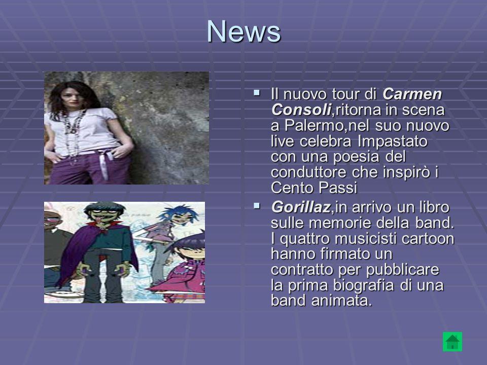 News Il nuovo tour di Carmen Consoli,ritorna in scena a Palermo,nel suo nuovo live celebra Impastato con una poesia del conduttore che inspirò i Cento