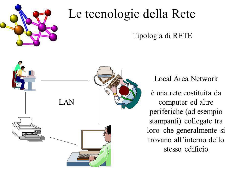 Tipologia di RETE LAN Local Area Network è una rete costituita da computer ed altre periferiche (ad esempio stampanti) collegate tra loro che generalmente si trovano allinterno dello stesso edificio Le tecnologie della Rete