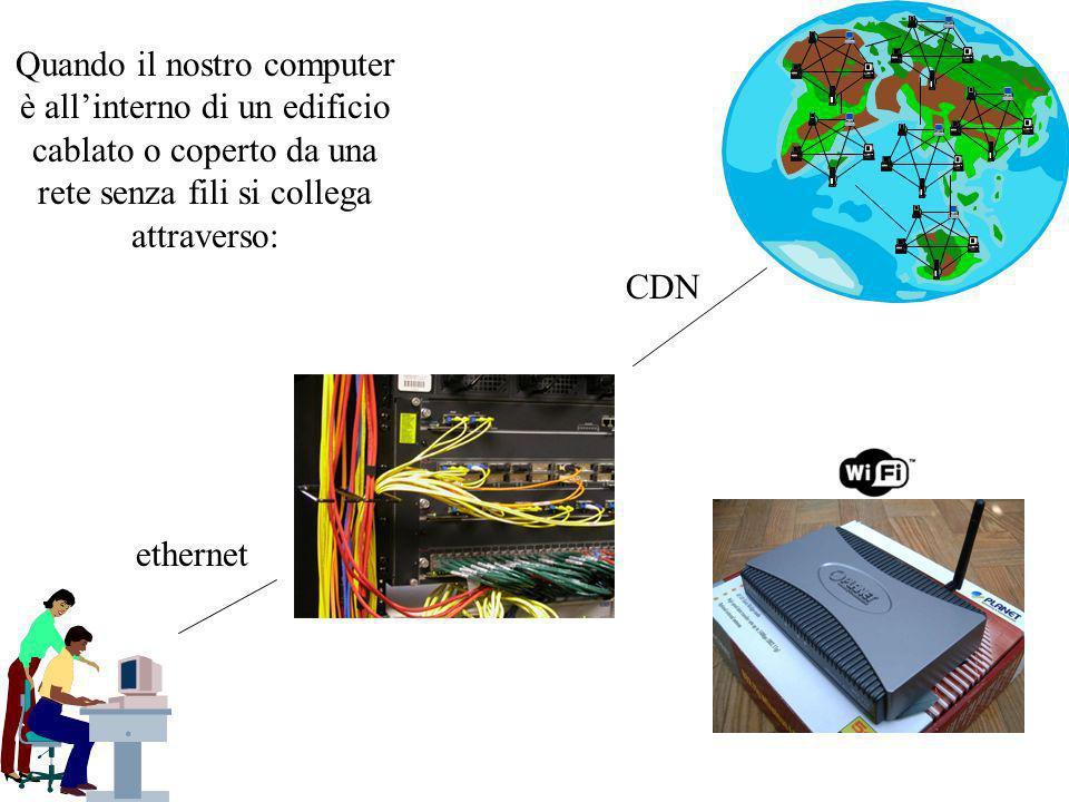 Quando il nostro computer è allinterno di un edificio cablato o coperto da una rete senza fili si collega attraverso: ethernet CDN