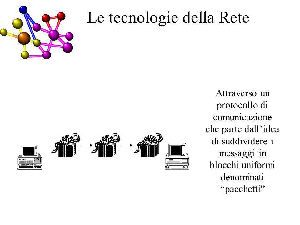 Attraverso un protocollo di comunicazione che parte dallidea di suddividere i messaggi in blocchi uniformi denominati pacchetti CE Le tecnologie della Rete