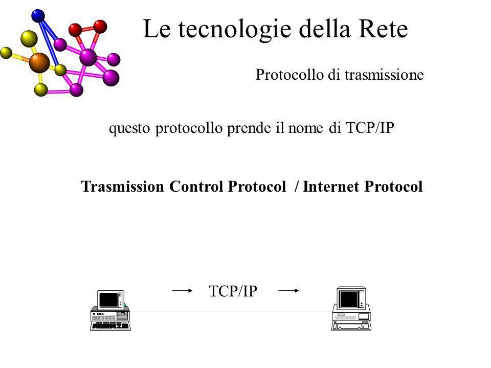 questo protocollo prende il nome di TCP/IP Trasmission Control Protocol / Internet Protocol Protocollo di trasmissione CE TCP/IP Le tecnologie della Rete