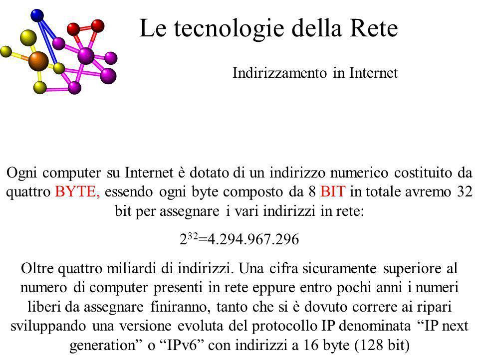 Indirizzamento in Internet Le tecnologie della Rete Ogni computer su Internet è dotato di un indirizzo numerico costituito da quattro BYTE, essendo ogni byte composto da 8 BIT in totale avremo 32 bit per assegnare i vari indirizzi in rete: 2 32 =4.294.967.296 Oltre quattro miliardi di indirizzi.