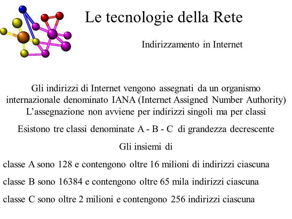 Indirizzamento in Internet Le tecnologie della Rete Gli indirizzi di Internet vengono assegnati da un organismo internazionale denominato IANA (Internet Assigned Number Authority) Lassegnazione non avviene per indirizzi singoli ma per classi Esistono tre classi denominate A - B - C di grandezza decrescente Gli insiemi di classe A sono 128 e contengono oltre 16 milioni di indirizzi ciascuna classe B sono 16384 e contengono oltre 65 mila indirizzi ciascuna classe C sono oltre 2 milioni e contengono 256 indirizzi ciascuna