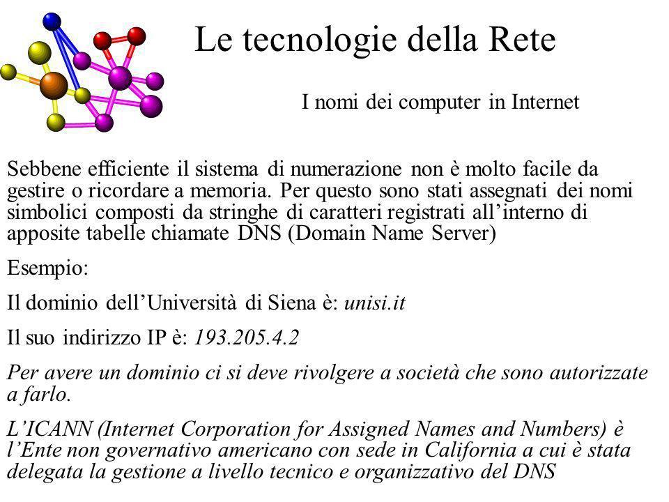 I nomi dei computer in Internet Le tecnologie della Rete Sebbene efficiente il sistema di numerazione non è molto facile da gestire o ricordare a memoria.