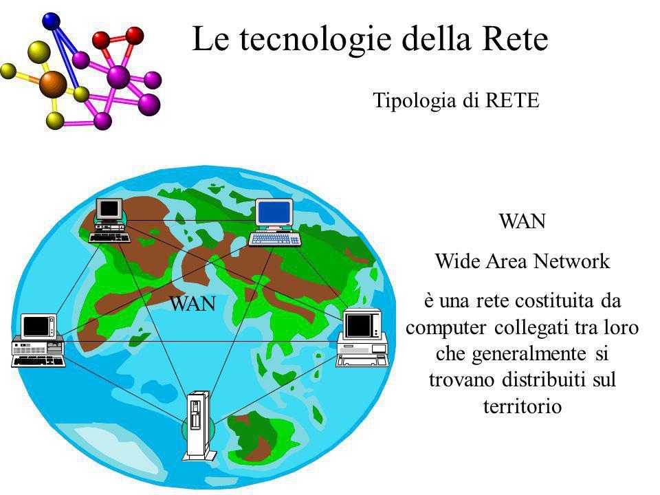 Tipologia di RETE WAN Wide Area Network è una rete costituita da computer collegati tra loro che generalmente si trovano distribuiti sul territorio A