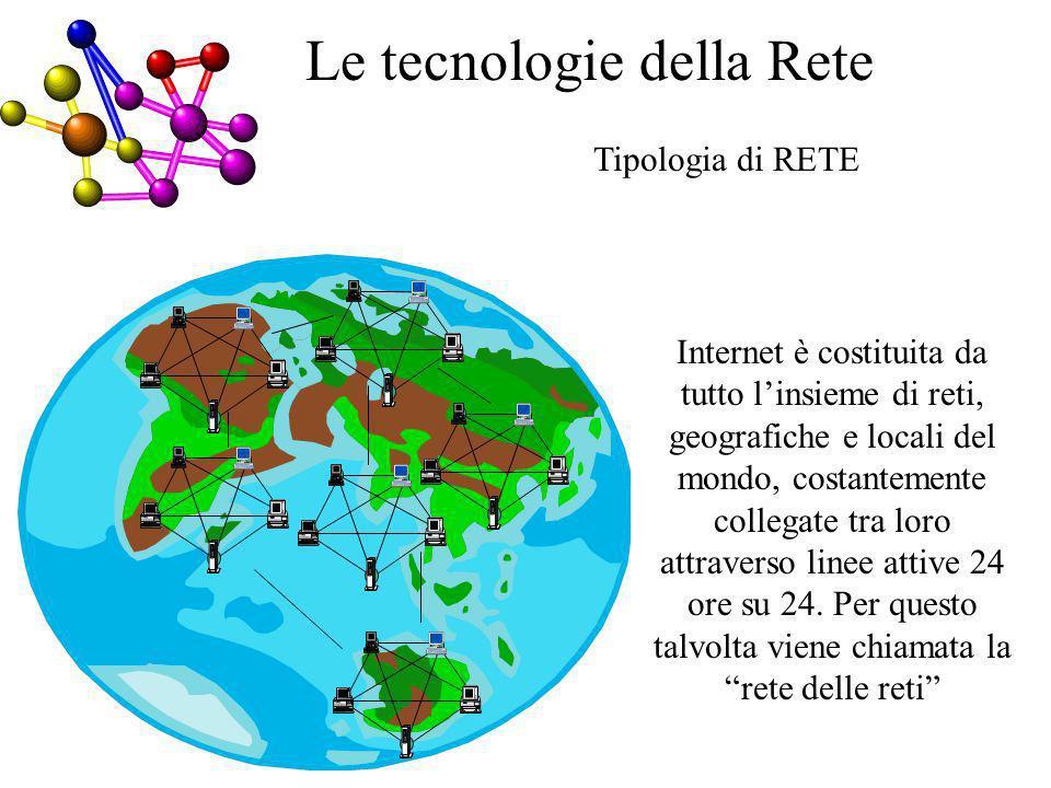 Tipologia di RETE Internet è costituita da tutto linsieme di reti, geografiche e locali del mondo, costantemente collegate tra loro attraverso linee attive 24 ore su 24.