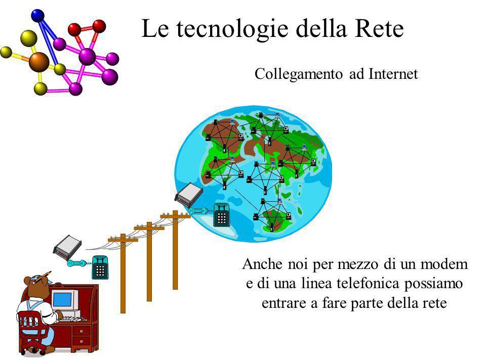 Collegamento ad Internet Le tecnologie della Rete Anche noi per mezzo di un modem e di una linea telefonica possiamo entrare a fare parte della rete