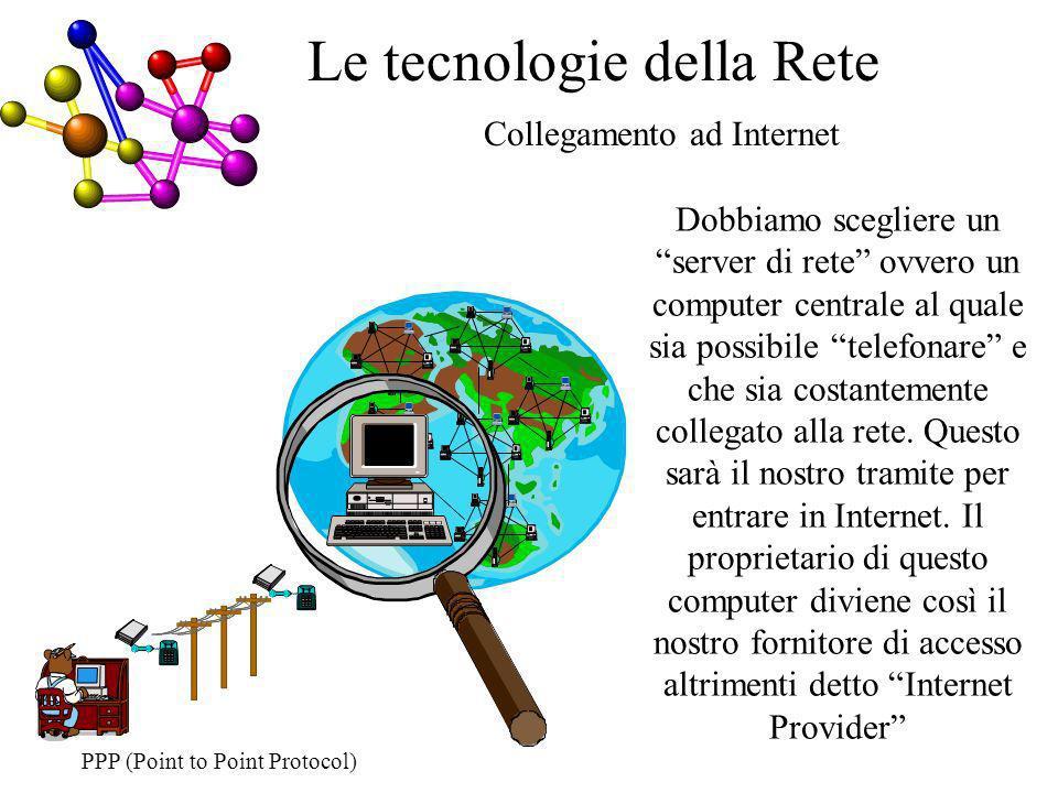 Collegamento ad Internet Le tecnologie della Rete Dobbiamo scegliere un server di rete ovvero un computer centrale al quale sia possibile telefonare e che sia costantemente collegato alla rete.