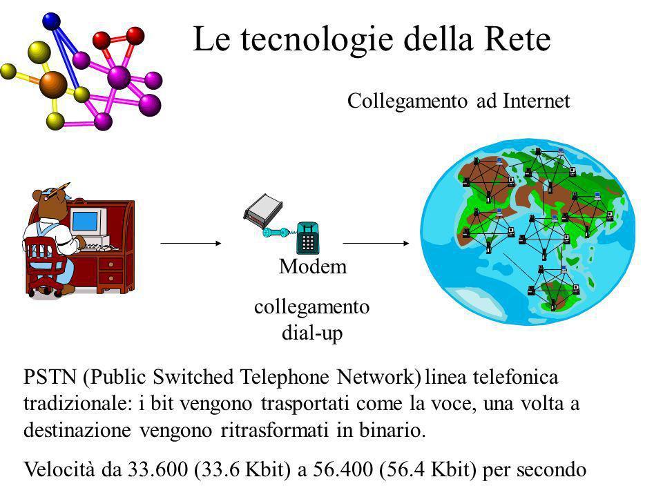 Collegamento ad Internet Le tecnologie della Rete PSTN (Public Switched Telephone Network) linea telefonica tradizionale: i bit vengono trasportati come la voce, una volta a destinazione vengono ritrasformati in binario.