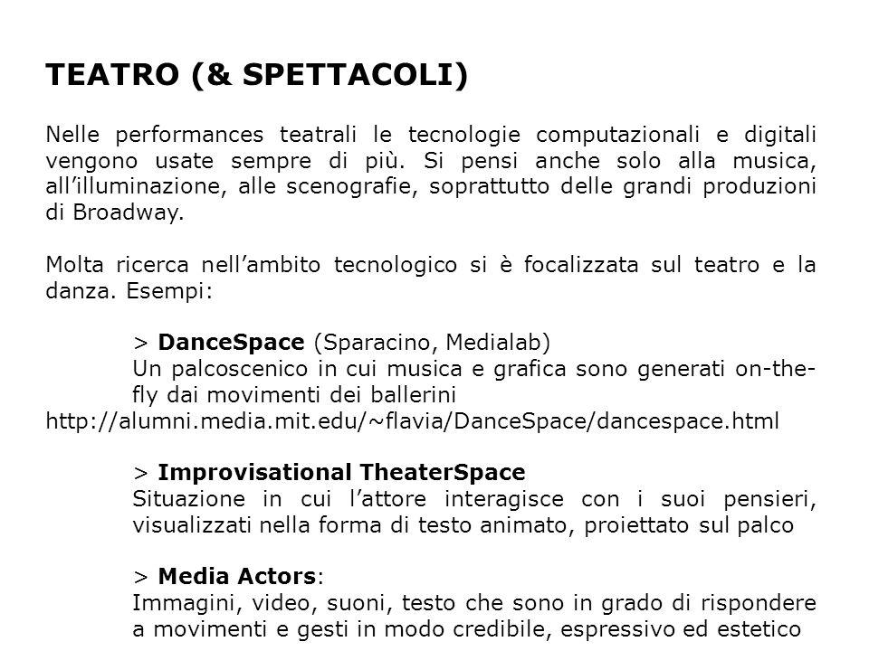 TEATRO (& SPETTACOLI) Nelle performances teatrali le tecnologie computazionali e digitali vengono usate sempre di più.