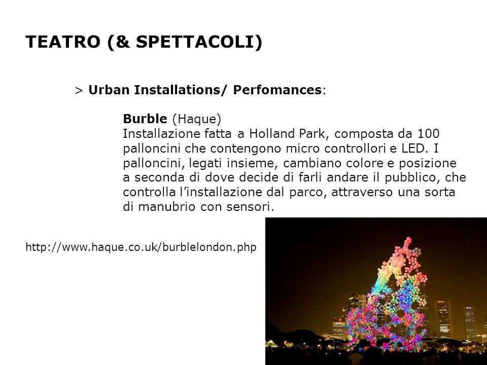 TEATRO (& SPETTACOLI) > Urban Installations/ Perfomances: Burble (Haque) Installazione fatta a Holland Park, composta da 100 palloncini che contengono micro controllori e LED.