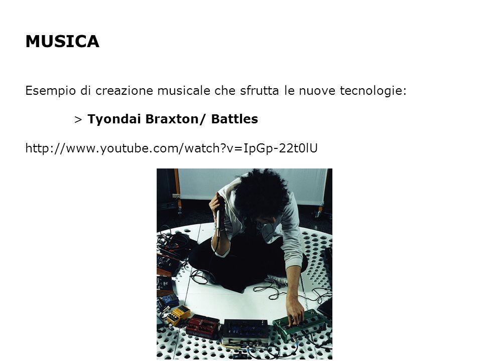 MUSICA Esempio di creazione musicale che sfrutta le nuove tecnologie: > Tyondai Braxton/ Battles http://www.youtube.com/watch?v=IpGp-22t0lU