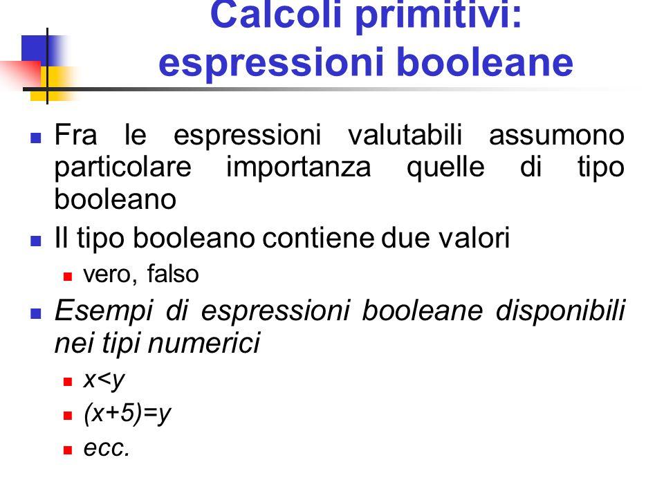 Calcoli primitivi: espressioni booleane Fra le espressioni valutabili assumono particolare importanza quelle di tipo booleano Il tipo booleano contien