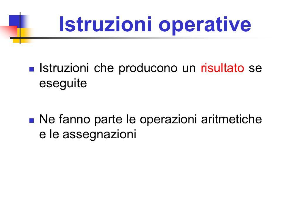 Istruzioni operative Istruzioni che producono un risultato se eseguite Ne fanno parte le operazioni aritmetiche e le assegnazioni