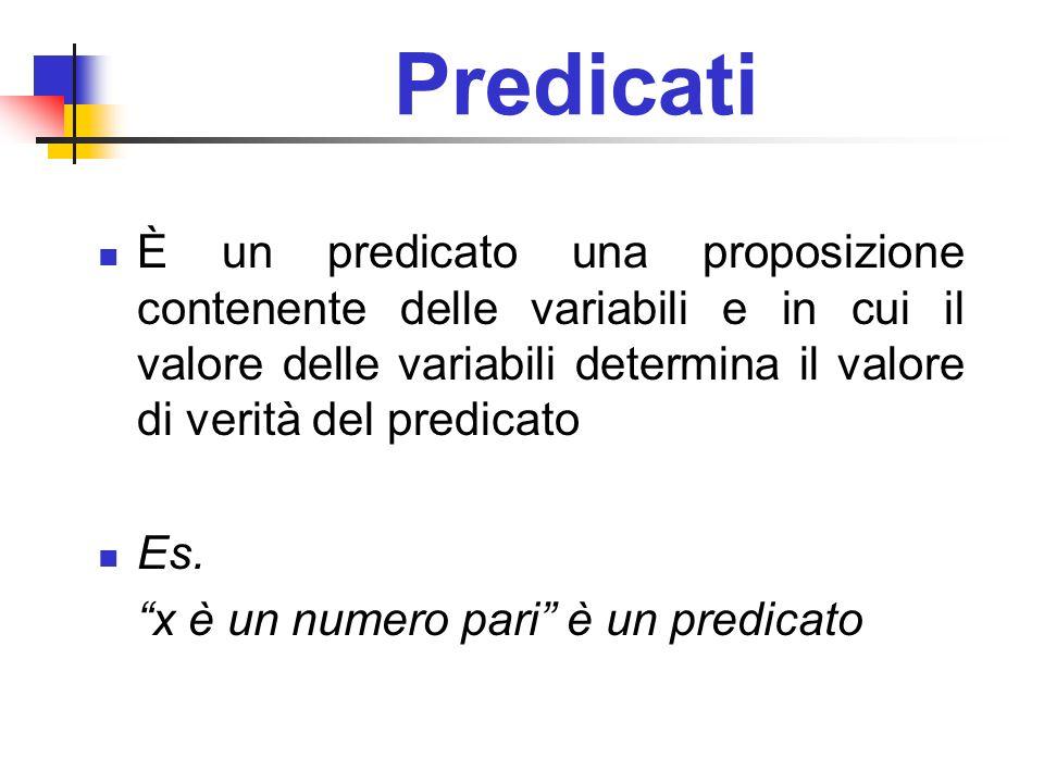 Predicati È un predicato una proposizione contenente delle variabili e in cui il valore delle variabili determina il valore di verità del predicato Es