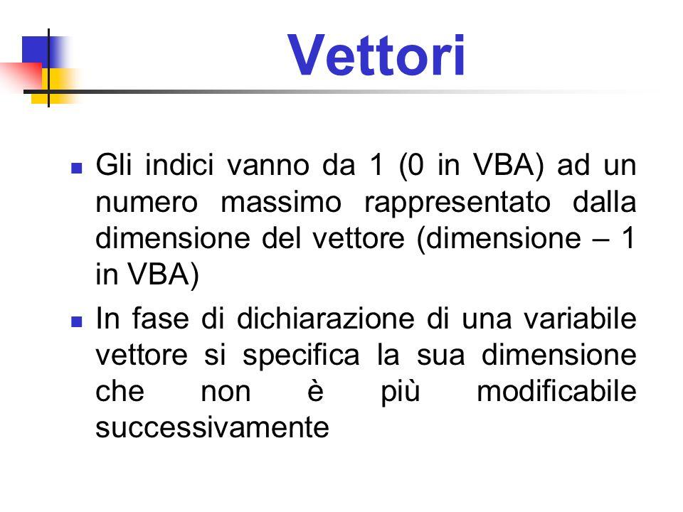 Vettori Gli indici vanno da 1 (0 in VBA) ad un numero massimo rappresentato dalla dimensione del vettore (dimensione – 1 in VBA) In fase di dichiarazi