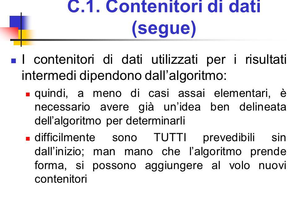 C.1. Contenitori di dati (segue) I contenitori di dati utilizzati per i risultati intermedi dipendono dallalgoritmo: quindi, a meno di casi assai elem