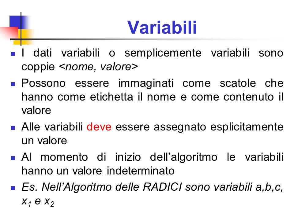 Variabili I dati variabili o semplicemente variabili sono coppie Possono essere immaginati come scatole che hanno come etichetta il nome e come conten