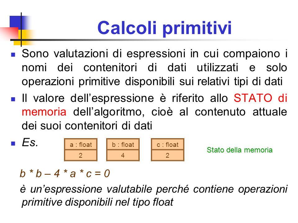 Calcoli primitivi: espressioni booleane Fra le espressioni valutabili assumono particolare importanza quelle di tipo booleano Il tipo booleano contiene due valori vero, falso Esempi di espressioni booleane disponibili nei tipi numerici x<y (x+5)=y ecc.
