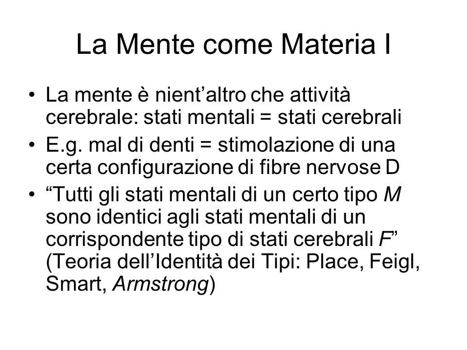 La Mente come Materia I La mente è nientaltro che attività cerebrale: stati mentali = stati cerebrali E.g.