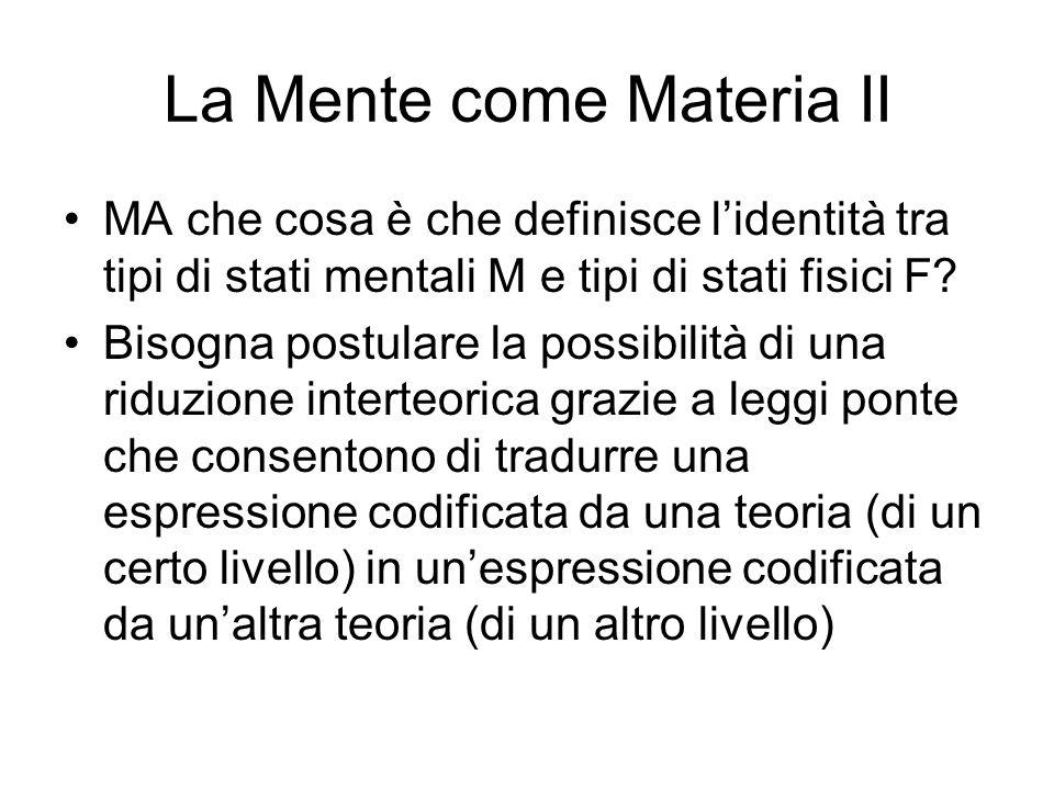 La Mente come Materia II MA che cosa è che definisce lidentità tra tipi di stati mentali M e tipi di stati fisici F.