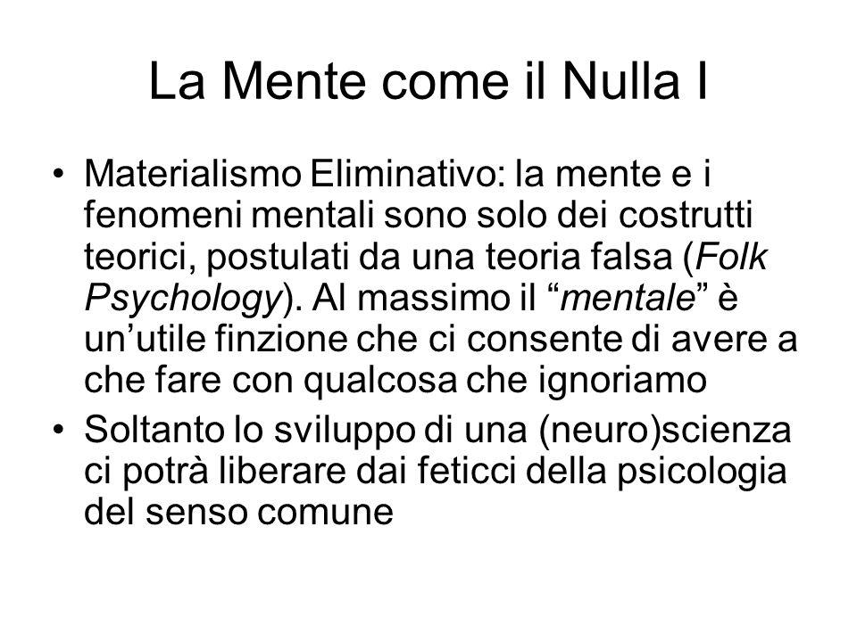 La Mente come il Nulla I Materialismo Eliminativo: la mente e i fenomeni mentali sono solo dei costrutti teorici, postulati da una teoria falsa (Folk Psychology).