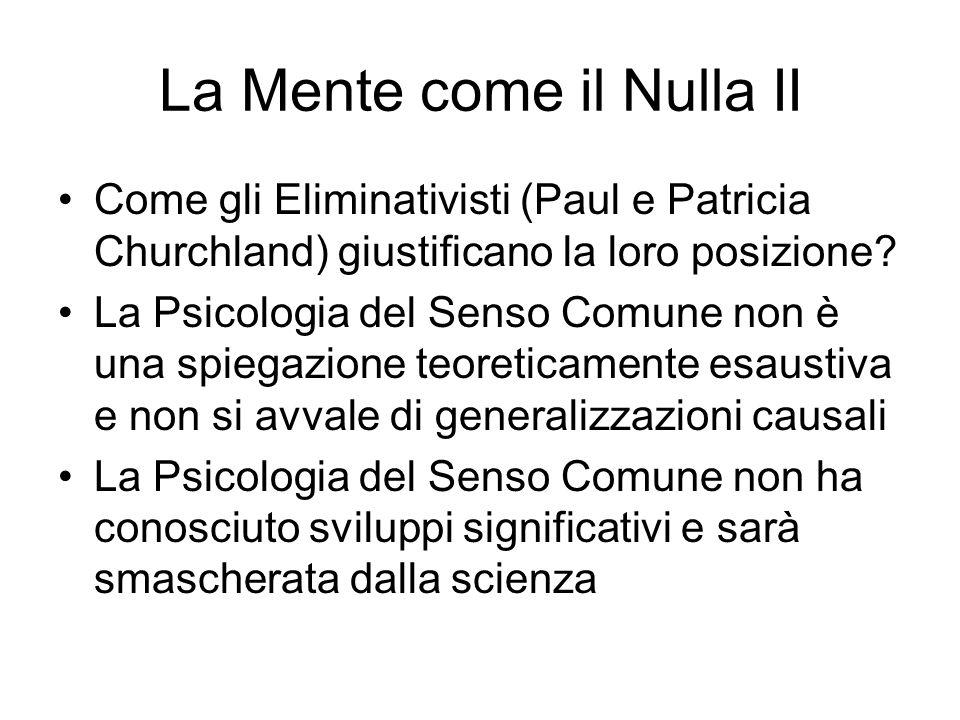 La Mente come il Nulla II Come gli Eliminativisti (Paul e Patricia Churchland) giustificano la loro posizione.