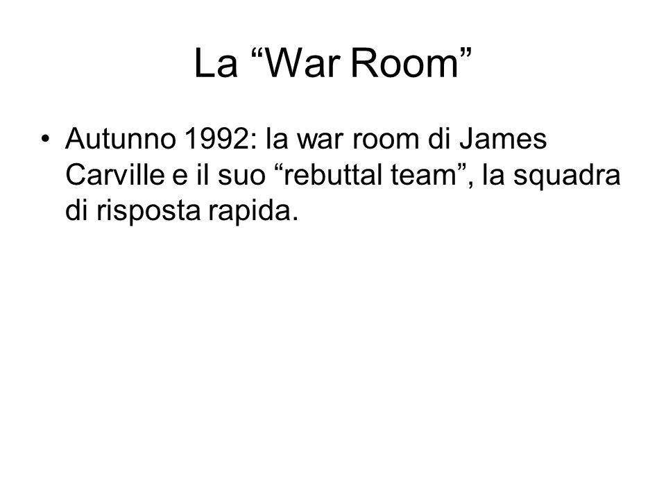 La War Room Autunno 1992: la war room di James Carville e il suo rebuttal team, la squadra di risposta rapida.